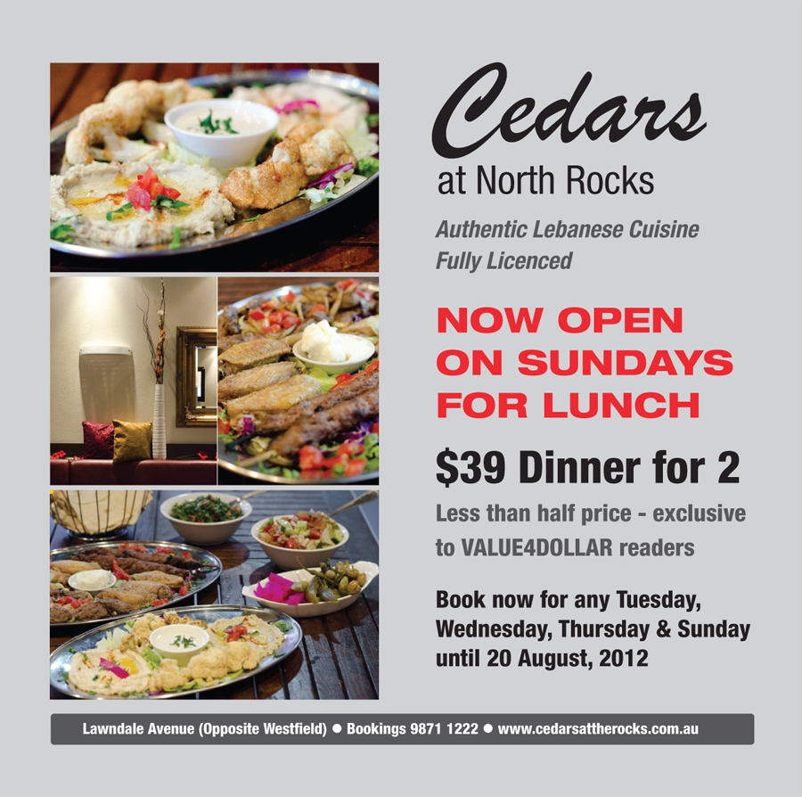 Cedars Restaurant - Authentic Lebanese Cuisine Discount Coupon