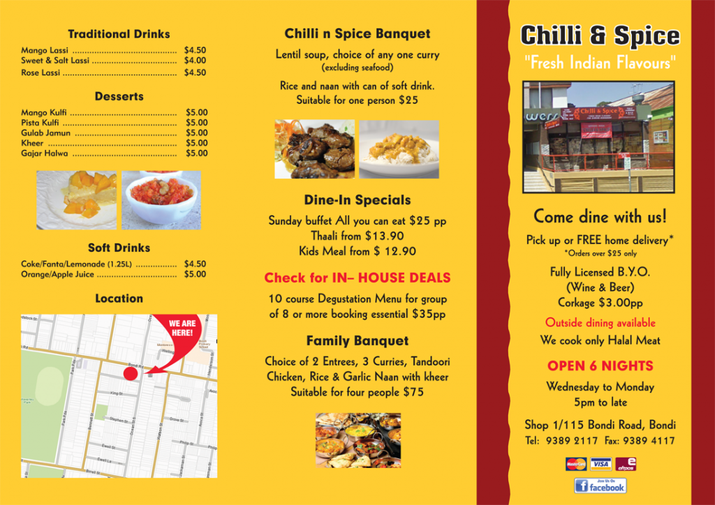 Chilli & Spice 'Fresh Indian Flavours' Restaurant Specials