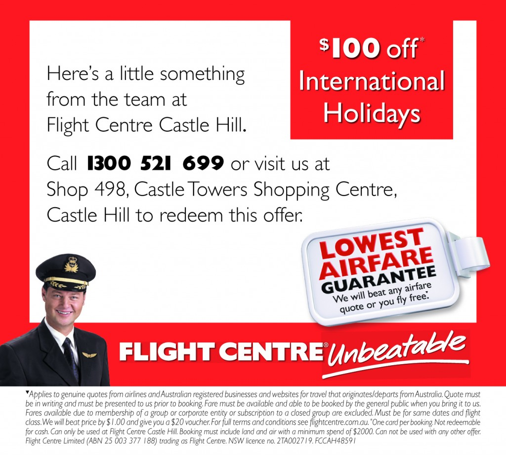 Flight Centre $100 off International Travel Holidays