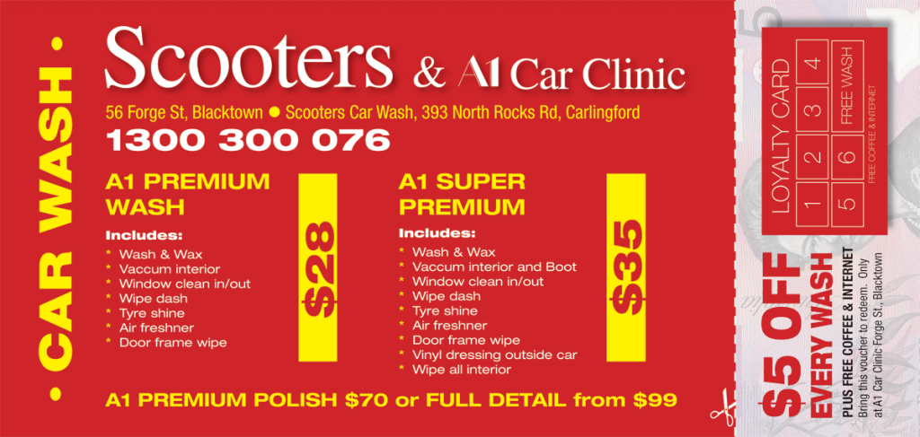 Scooters & A1 Car Clinic Car Wash Deals