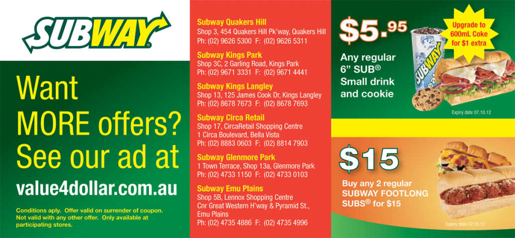 Subway Quakers Hill, Kings Park, Kings Langley & Circa Retail Bella Vista